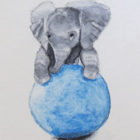 Baby Elephant Playing With Blue Ball, by Addison : ACEO Original Watercolor Elephant Painting