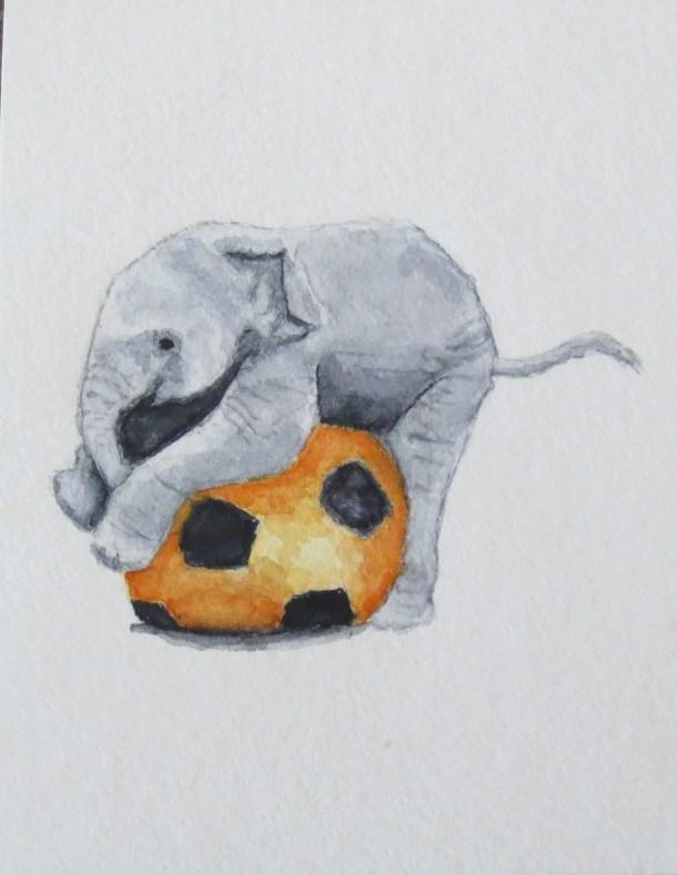 Elephant Art Addison baby elephant with orange soccer ball (3)