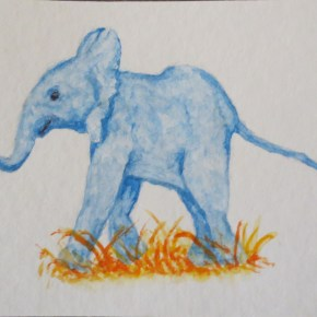 Blue Baby Elephant Walking Over Grass, by Addison : ACEO Original Watercolor Elephant Painting