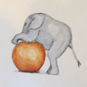 Blue Grey Baby Elephant Playing With Orange Ball, by Addison : ACEO Original Watercolor Elephant Painting