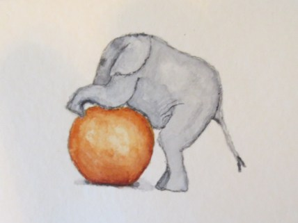 elephant art baby elephant with orange ball 016