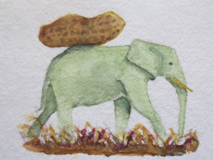 Elephant paintings watercolor Addison elephant (1) Elephant With Lunchbox