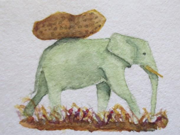 Elephant paintings watercolor Addison elephant (1) Elephant With Lunchbox