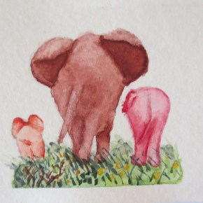 Elephant Butts by Addison : ACEO Original Watercolor Elephant Painting