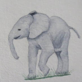 Happy Smiling Baby Elephant by Addison : ACEO Original Watercolor Elephant Painting