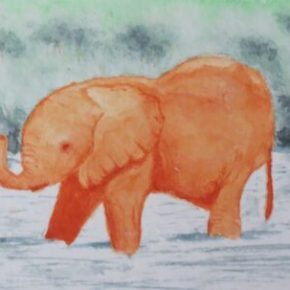 Orange Baby Elephant in Water by Addison : ACEO Original Watercolor Elephant Painting