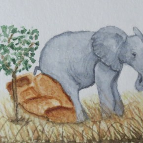 Grey Elephant Resting Against Rock by Addison : ACEO Original Watercolor Elephant Painting