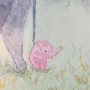 Poppy the Baby Elephant Standing Close to Mama by Addison : ACEO Original Watercolor Elephant Painting