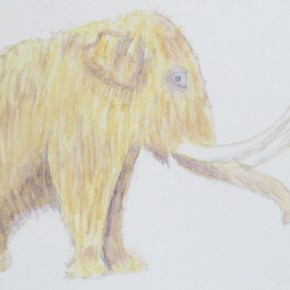 Velma the Woolly Mammoth, by Addison : ACEO Original Watercolor Elephant Painting