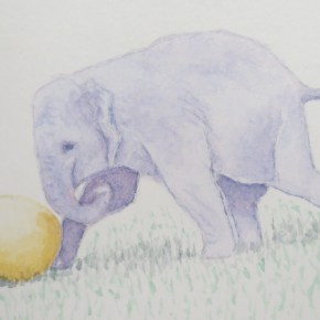 Grape Elephant Playing With Yellow Ball by Addison : ACEO Original Watercolor Elephant Painting