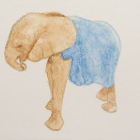 Orphaned Baby Elephant, Her Trunk Curled to Her Mouth, Wearing Blue Blanket by Addison : ACEO Original Watercolor Elephant Painting