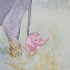 Petal the Pink Baby Elephant Standing Close to Mama by Addison : ACEO Original Watercolor Elephant Painting