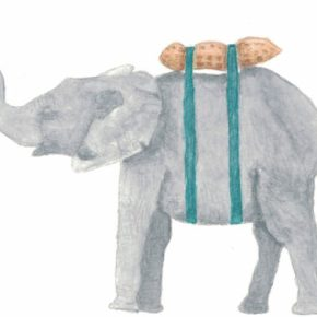 Elephant with Lunchbox by Addison : Original Watercolor Elephant Painting