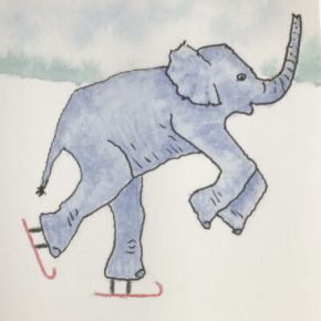 Red Skates Go Faster, Original Watercolor & Ink Painting by Addison : Original Watercolor Elephant Painting