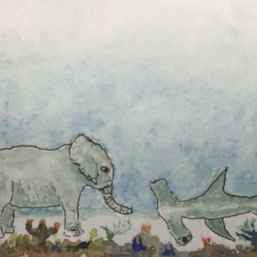 'Asking for Directions,' Elephant and Shark, Original Watercolor & Ink by Addison : ACEO Original Watercolor Elephant Painting