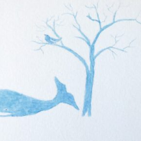 Bluebird watching a Blue Whale under a Blue Moon by Addison : Original Watercolor Painting