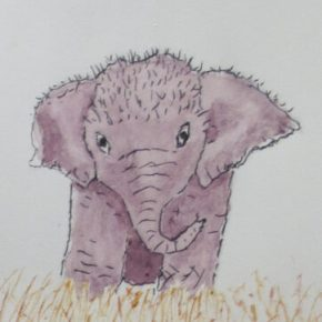 Baby Elephant in Grass, Original Watercolor & Ink Painting by Addison : ACEO Original Watercolor Elephant Painting