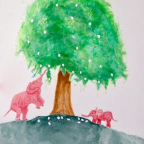 """Snack Time at the Marshmallow Tree"" by Addison : Original Watercolor Elephant Painting"