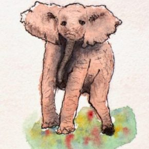 """""""Help Me Please"""", Original Watercolor & Ink Painting by Addison : ACEO Original Watercolor Elephant Painting"""