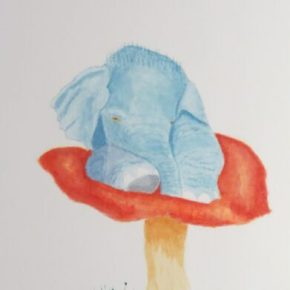 Baby Elephant Resting on a Mushroom by Addison Original Watercolor Elephant Painting
