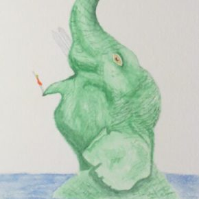 The Cliff Diver, Surrealism by Addison: Original Watercolor Elephant Painting