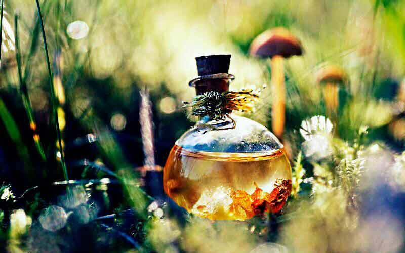 Botella de bruja para atraer la abundancia.