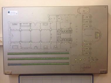 Pannello sinottico in alluminio e led di segnalazione accensioni luci automatizzate