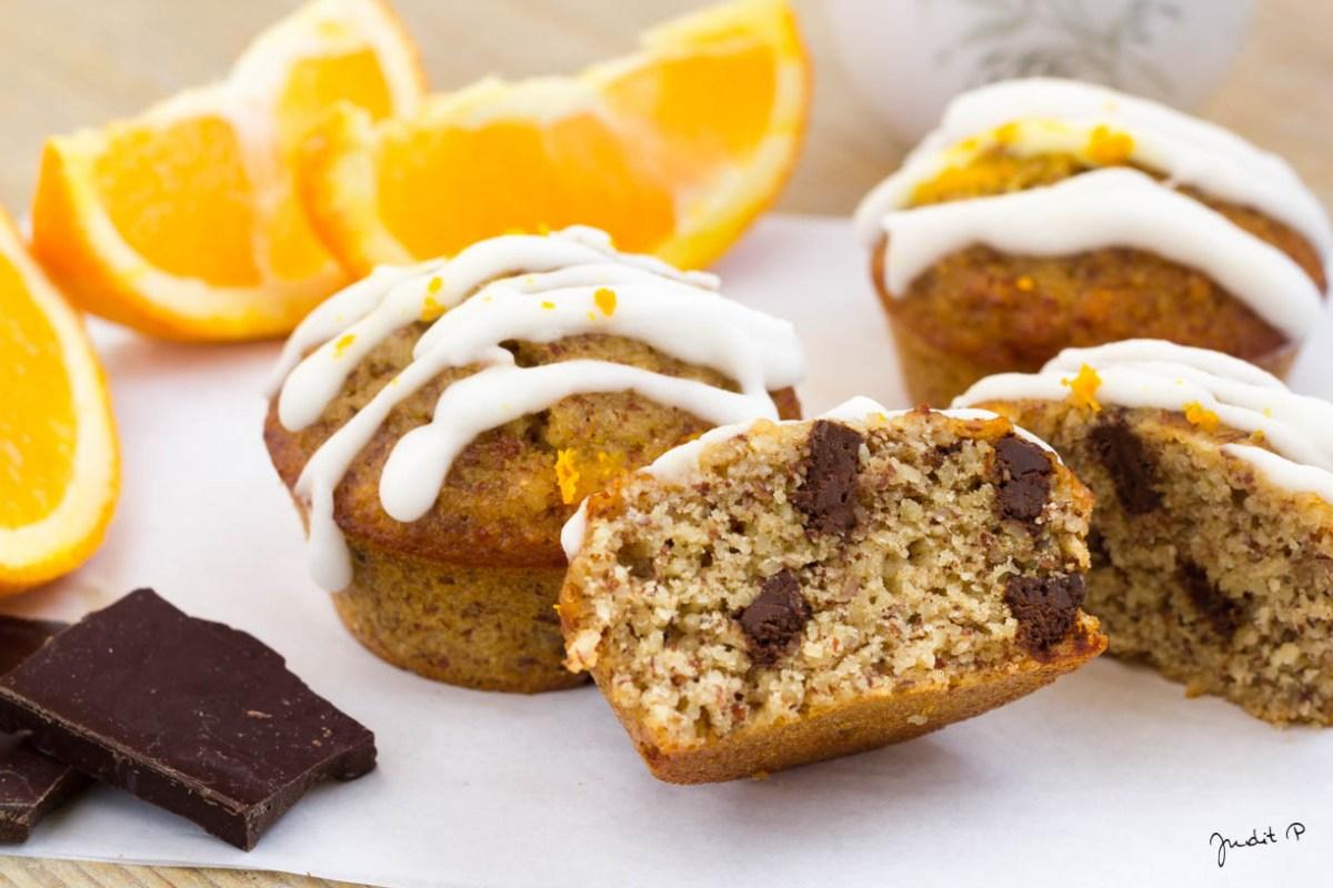 Narancsos csokis paleo muffin cukormázzal