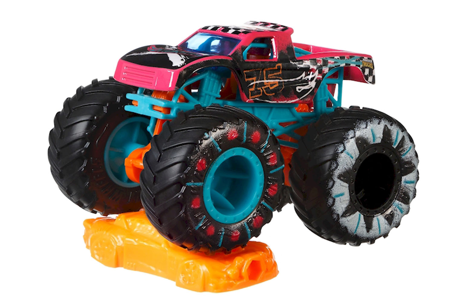 Hot Wheels Monster Trucks Podium Crasher Truck Connect And Crash Car Included 10 50 1 64 2 5 Hw Demo Derby Series Pink Pickup With Giant Wheels Ele Toys Llc