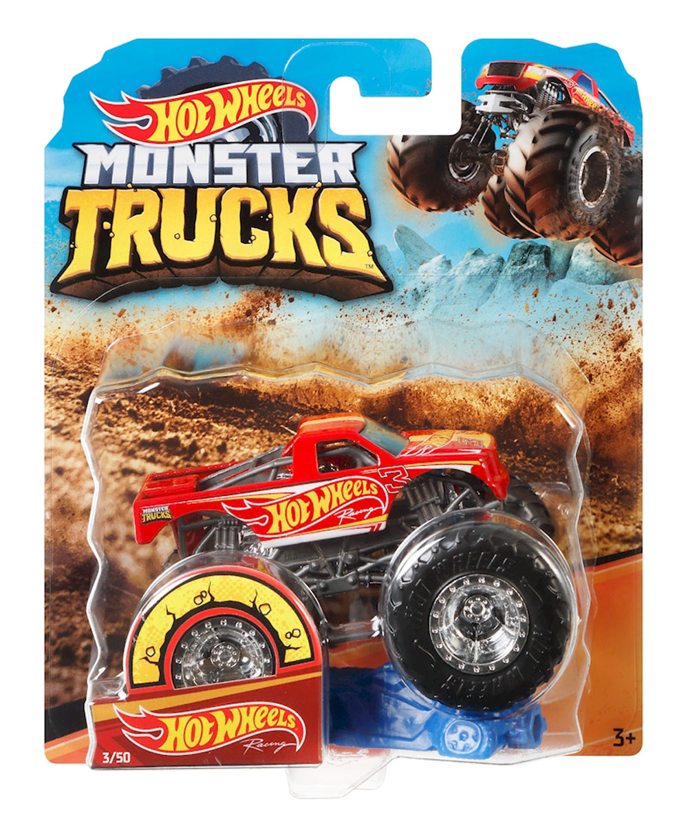 Hot Wheels Monster Trucks Racing Truck Connect And Crash Car Included 3 50 1 64 Red Truck With Giant Wheels Ele Toys Llc