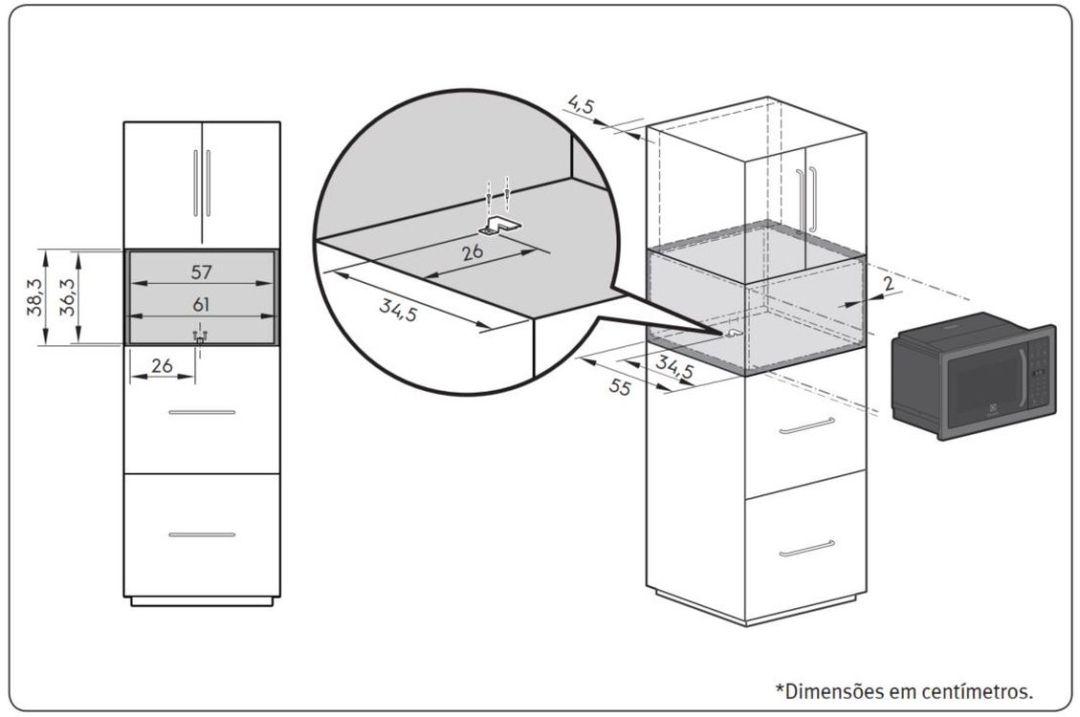 Local da Instalação do Microondas Electrolux 28 litros de embutir com grill - MB38P