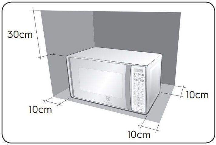Local da Instalação do Microondas Electrolux com Função Tira Odor 20 litros - MTO30