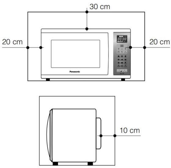 Local da Instalação do Microondas Panasonic 25 litros Prata - NN-ST375M