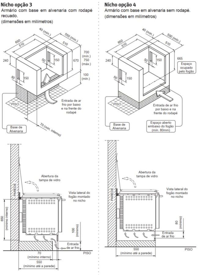 Fogão Electrolux 52ERS - Nicho de instalação - opção 3 e 4