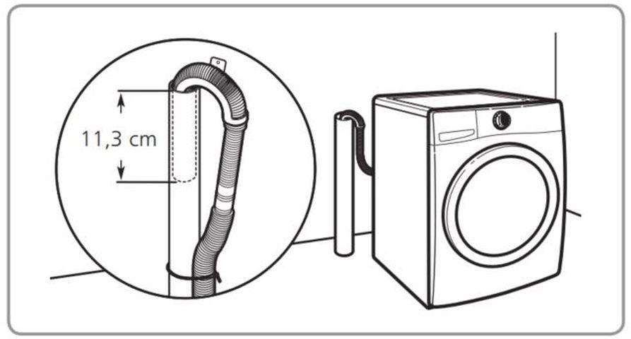 Lavadora de roupas Brastemp - BNQ14 - Escoamento no tubo da parde
