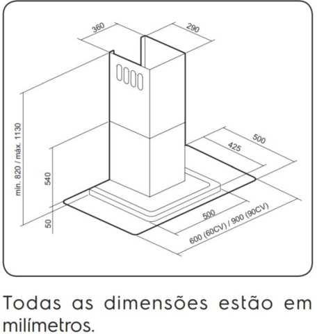 Dimensões do produto - 90CV