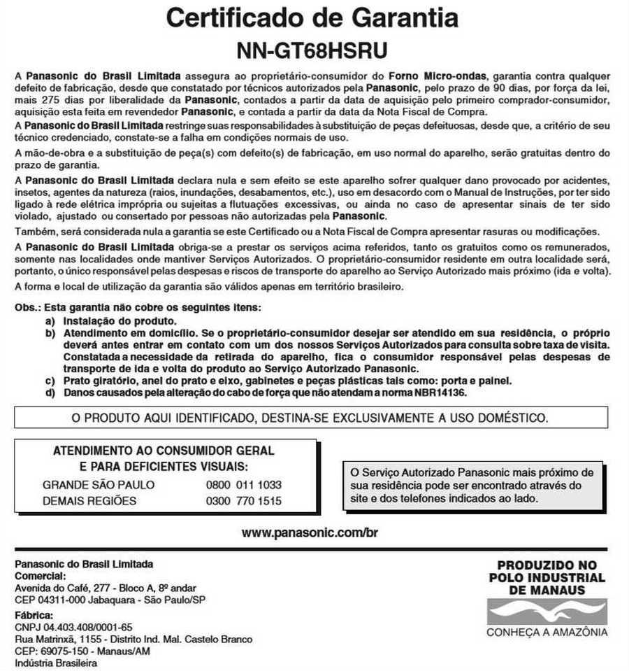 Manual de instruções do microondas Panasonic NN-GT68H - Certificado de garantia