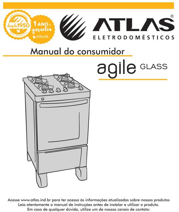 Manual do fogão de piso Atlas Agile Glass 4 bocas