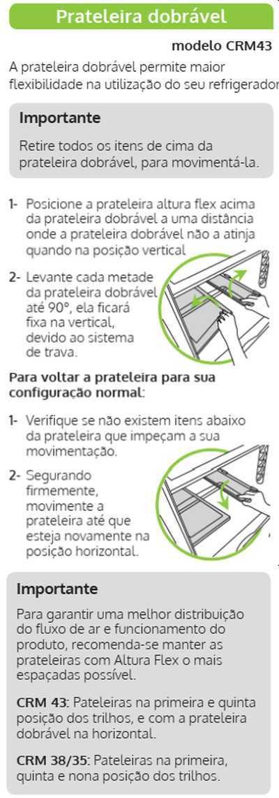 Geladeira Consul CRM43 - componentes