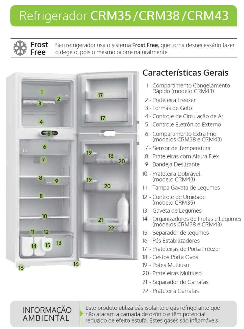 Geladeira Consul CRM38 - partes da geladeira