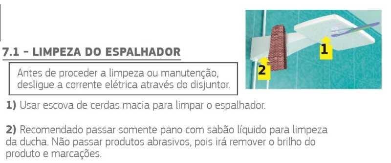 Ducha Corona Polo Max Eletrôica - limpeza do espalhador