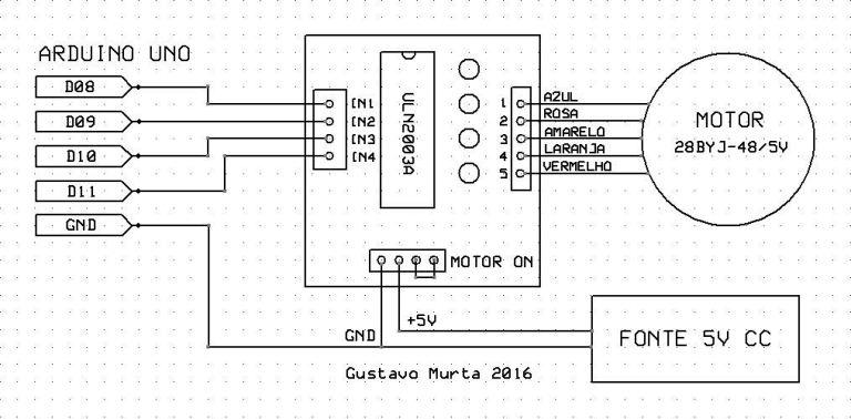 Entendendo e controlando motores de passo com driver uln2003 e imagem esquemtico uln2003 alimentao ccuart Choice Image