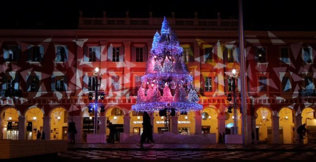 Nizza francia riviéra - Nizza (Nice), karácsonyi fények a főtéren