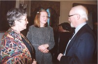 Professor John Clarke speaks with Mrs Jean Clarke and Dr Brigitte Toro