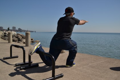 Elevated Split Squat on the waterfront