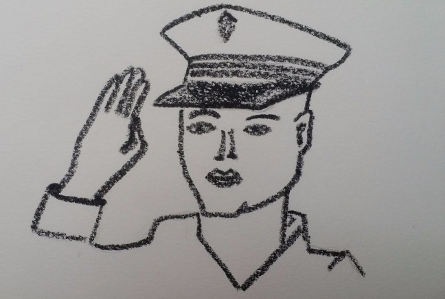 Drawing of a navy captain.