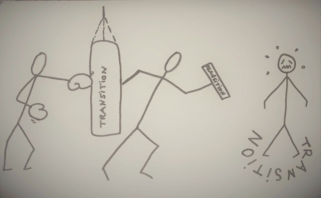 Drawing showing a stickman facing a career change.