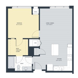 One Bedroom 1L Floor Plan