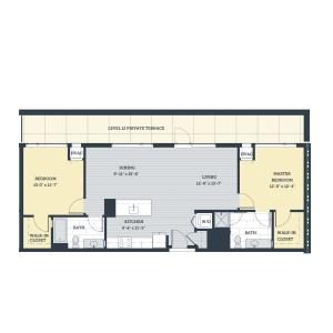 Two Bedroom 2M Floor Plan