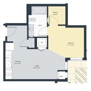 One Bedroom OA Floor Plan